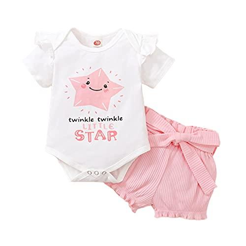 2 Pcs Conjunto Ropa Bebe Niña 0-18 Meses Verano Algodon 'Estrella' - Mono + Pantalón Corto para Recien Nacido Niño Barata Regalo (Rosa, 12-18 Meses, 12_Months)