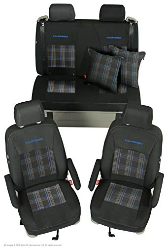 INKA Fully Tailored Front and Rear Seat covers Set with Tartan fabric centres options - to fit VolksWagen T6 T5 California Ocean - MY 2014 onwards (Blue)