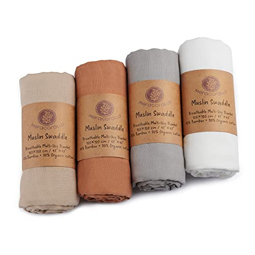 Meracorallo Muslin Swaddle Blanket Silky Soft Receiving Blanket Neutral Swaddle Wrap for Baby Boys and Girls, 47 x 47 inches, Set of 4 Solid Color