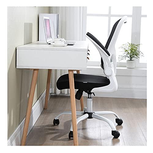 LINGZE Silla de Escritorio ergonómica con cómodo reposabrazos Acolchado con Respaldo Medio Silla para computadora, Silla giratoria Blanca