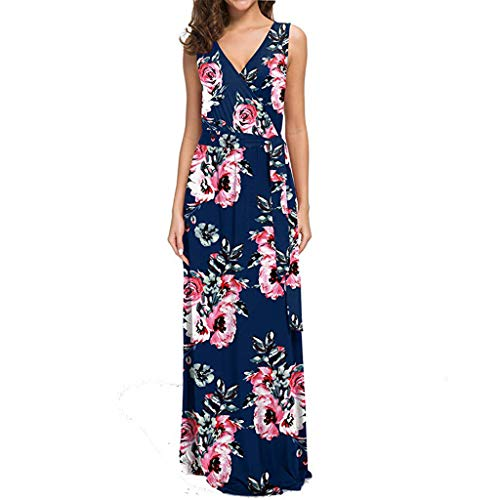 CAOQAO Damen Fashion Kurz Ärmel kleid m blau