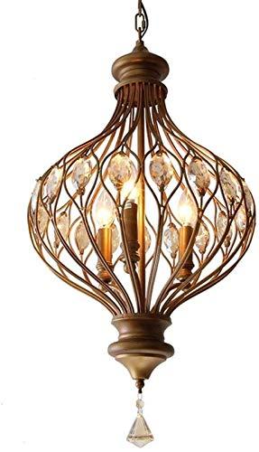 Antigedades de la casa de campo araa francesa araa de araa 3 luces E14 Linterna Luz colgante 71cm Lmpara decorativa de cristal de alto cristal para comedor Dormitorio Sala de estar Bao Cocina L