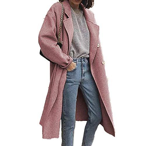 JCZX Trench Coat da Donna Winter Street Style Cappotto Doppiopetto in Lana Double Face