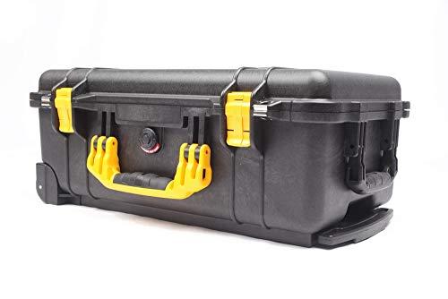 Inlay-Shop Tool-Case inklusive pimpOrganizer mit Trennwandsystem und Deckeleinteiler eingebaut im Peli 1510 Case abschließbar, staubdicht, stoßfest, wasserdicht (Gelbe Griffe und Verschlüsse)