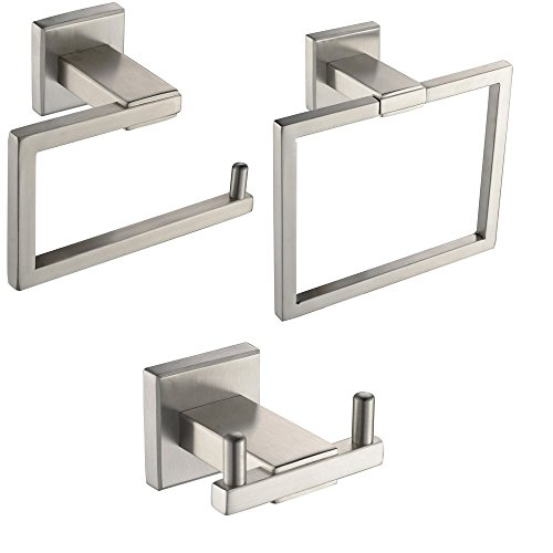 XVL Bathroom Accessories Set Toilet Roll Paper Holder Towel Ring Robe Hook SUS304 Stainless Steel Brushed