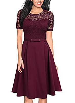 MISSMAY Women's Vintage Floral Lace Scoop Neck Cocktail Formal Swing Dress