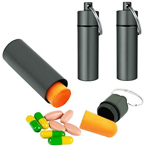 3 Packs Aluminum Waterproof Pill Holder, Effiet Pillbox Case Fob Medicine Bottle Drug Holder Compact Container Keychain Nitroglycerin Pill Bottle Case with Bonus Earplug Ear Plugs (Matt Finished)