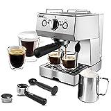 Espresso Machine 15 Bar Espresso Coffee Maker with Milk Frother Wand for Cappuccino, Latte, Mocha, Machiato, For Home Barista, 1.5L Water Tank, Classial, Sliver, 1050W