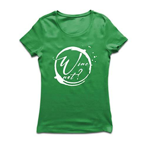 lepni.me Maglietta Donna Vino No Amante Dellalcool Ingegno Bere Citazione di Scherzo (Medium Verde Multicolore)