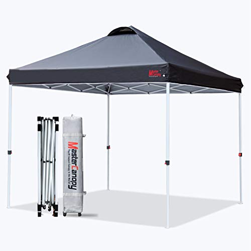 MasterCanopy Pop-up Gazebo Tent Commercial Instant Canopy with Wheeled Bag,Canopy Sandbags x4,Tent Stakesx4 (3x3M,Black)
