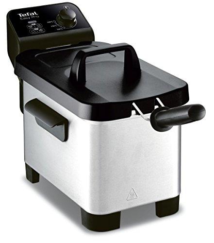 Freidora semiprofesional Easy Pro 3 L Tefal FR331070, zona fría y tapa de almacenaje de color gris/negro.