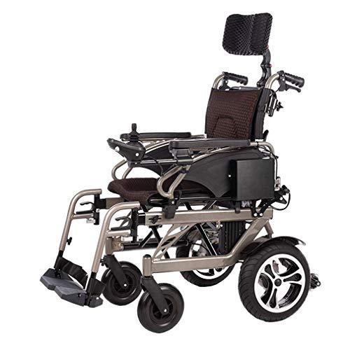 FLZ Rollstuhl mit verstellbarer Rückenlehne, elektrischer Rollstuhl verstellbare Kopfstütze Polymer Lithium-Ionen-Batterie 26Ah Faltbarer Roller