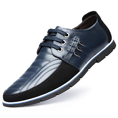 Mocasines Clásicos de Cuero Oxford con Cordones para Hombres Negocios Conducir Informal Zapatillas Deportivas Cómodas 48 EU Azul,29 CM Du Talon aux orteils