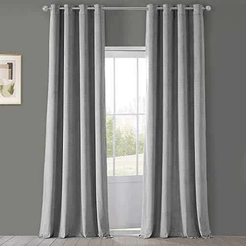 HPD Half Price Drapes VPCH-145002-120-GRBO Signature Grommet Blackout Velvet Curtain (1 Panel), 50 X 120, Silver Grey