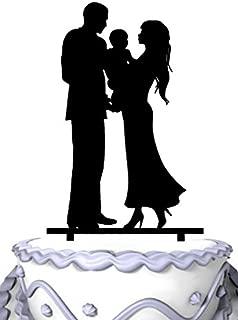 Meijiafei Bride &Groom Holding Baby Silhouette Family Acrylic Cake Topper