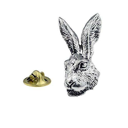 GIFTSEARCH Pin de Solapa de Peltre con Cabeza de caseta (Conejo) (XTSPBA73)