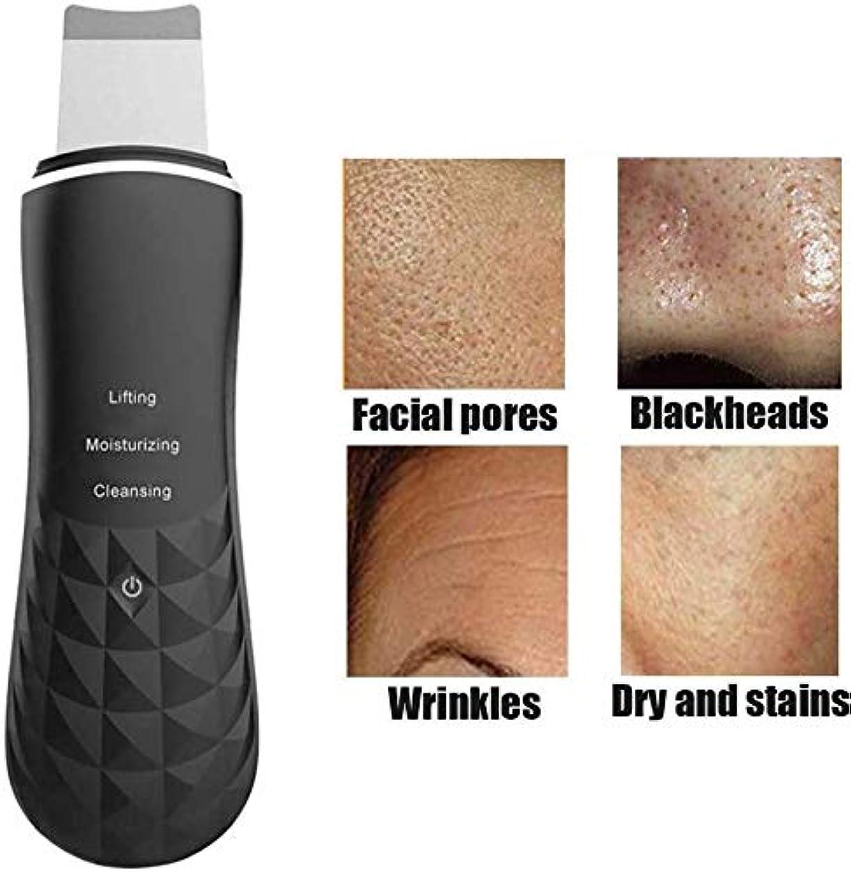 コンプライアンスサンドイッチ合意にきび除去皮膚剥離顔面加熱皮膚洗浄器、EMS加熱イオン高周波振動フェイススパチュラビューティーデバイス,黒