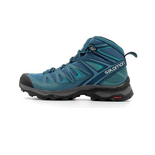 Salomon Women's X Ultra Mid 3 Aero Hiking Boots, Mallard Blue/Reflecting Pond/TROPICAL GREEN, 8.5