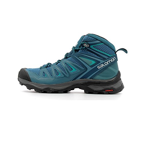 Salomon Women's X Ultra Mid 3 Aero Hiking Boots, Mallard Blue/Reflecting Pond/TROPICAL GREEN, 9.5