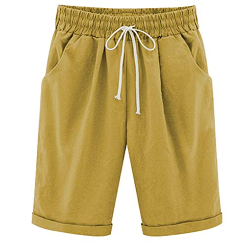 XinYangNi Women's Petite Casual Cotton Fit Shorts Elastic Waist Drawstring Bermuda Shorts Knee Length Turmeric US S/Asia 2XL