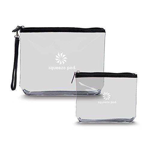 Squeeze Pod Clear Travel Toiletry 2 Bag Bundle - 1 TSA Approved Clear Quart Size Bag w/Black Trim + 1 Clear Hanging Bag w/Black Trim. Built to Survive Tough Travel. (CTBMSBB)