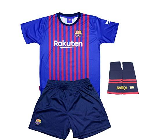 FC. Barcelona Conjunto Completo Infantil Réplica Oficial Licenciado de la Primera Equipación Temporada 2018-19 Sin Dorsal