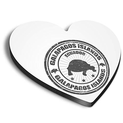 Destination Vinyl ltd Corazón MDF Imanes - BW - Islas Galápagos Tortuga Ecuador para Oficina, Armario y Pizarra Blanca, Pegatinas Magnéticas, 39900