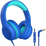 Kids Headphones with Microphone Over Ear/On Ear Wired Headphones for Kids with Volume Limit Switch 85dB/94dB and HD Sound Sharing Function for Children,Boys,Girls,Tablet,PC,School,Travel (Blue)