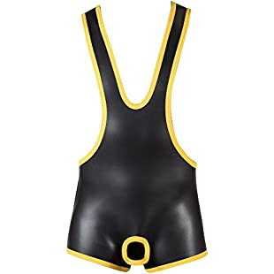 665 Large Yellow Neoprene Open Crotch Wrestling Singlet