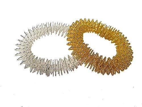 anillo de Masaje Set para Muñeca en dorado y plata, Mano Anillo de acupresión, Anillo pulsera
