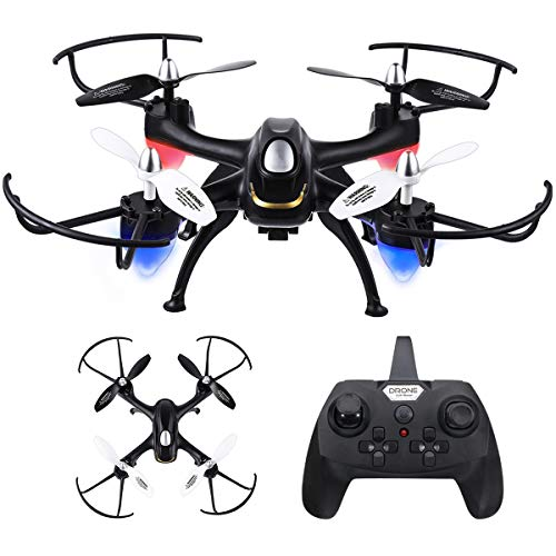 Quadcopter Drone with 2.0 MP HD Camera, EACHINE E33C Quadcopter Drone wif HD Camera 2.4G 4CH 6-Axis Black RTF-3D Flips, One-Key Rutrn, Headless Mode, LED Light, Speed Control (E33C)