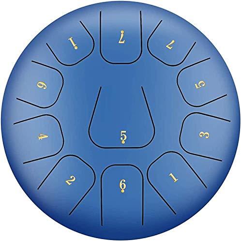 Tambores de Mano Tambor de tambor de tambor de la lengüeta de acero Estándar C Clave 11 Notas de 12 pulgadas, Para acampar, Yoga, Meditación, Musicerapia, Bolsa de viaje acolchada, Maletas, Etiqueta e