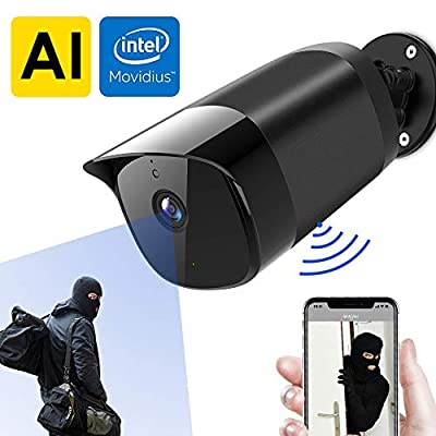 Simcam AI Outdoor Security Camera, AI Face Recognition, Person Detection, No Lag, 1080p WiFi Surveillance Cam, Privacy Protection, Night Vision, 2-Way Audio, IP65 Waterproof, Work with Alexa