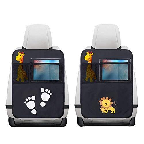 2 Pezzi Protezione Sedile Auto,Impermeabile Sedile Posteriore Auto Organizzatori 2 x Tasca dell\' Organizzatore Tasca iPad,Organizer Bambino per Sedile Auto,Protezione Sedile Auto Bambini(Nero)