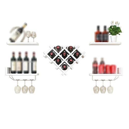 Estantes colgantes para copas de vino Montaje en pared MDF con 4 estantes flotantes Titular de la botella Barra de almacenamiento Accesorios de almacenamiento Estantería Organización y almacenamiento