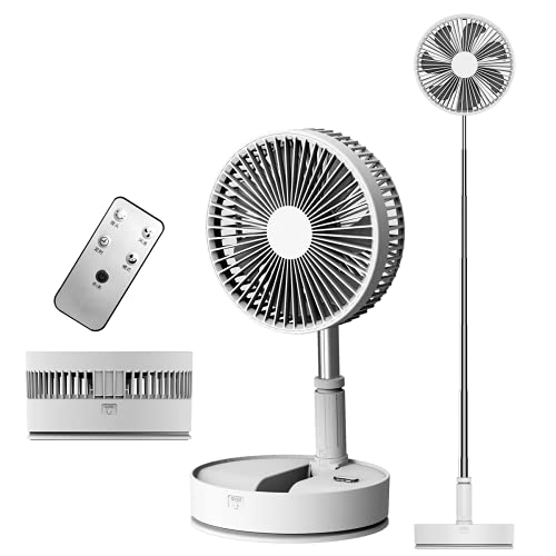 APOKIN® Ventilador P11 Plegable de Pie Silencioso USB Portátil con Mando a Distancia Batería Recargable 7200MHA Extensible con Palo Telescópico con 3 Velocidades Base Antideslizante