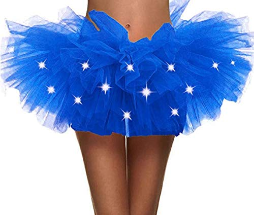 Women's Tulle Tutu Skirt 5 Layered Party Dance Tulle Tutu Skirt(Sapphire)