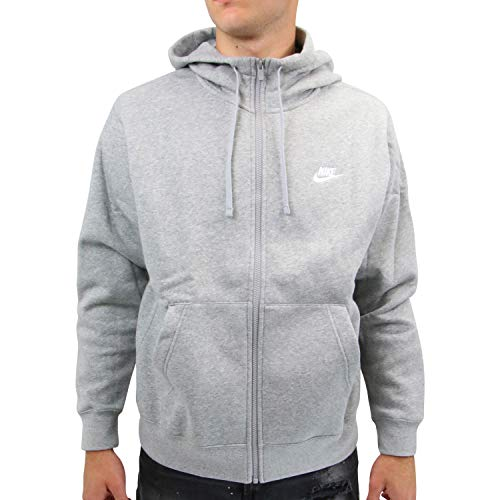NIKE M NSW Club Hoodie FZ BB Sweatshirt, Hombre, dk Grey Heather/Matte Silver/(White), M