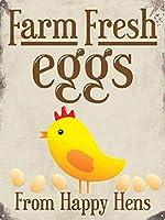 幸せな鶏を形成する農場の新鮮な卵 メタルポスタレトロなポスタ安全標識壁パネル ティンサイン注意看板壁掛けプレート警告サイン絵図ショップ食料品ショッピングモールパーキングバークラブカフェレストラントイレ公共の場ギフト