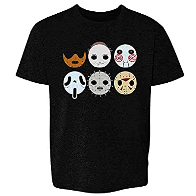 Horror Masks Monster Scary Movie Halloween Costume Black M Youth Kids Girl Boy T-Shirt