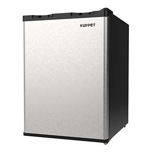 KUPPET Upright Freezer, 2.1Cu.Ft Mini Freezer Compact Reversible Single Door Table Top Mini Freezers for Ice Cream/Breast Milk/Sea Food, Adjustable Removable Shelves (Sliver)