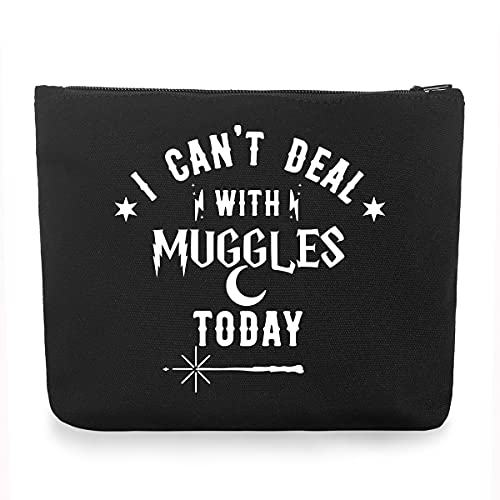 I Cant Deal with Muggles Today Makeup Bag Book Lovers Gift for Child Kids Children Teens Men Girl Women Friends Bookworm Gifts for Potter Fans