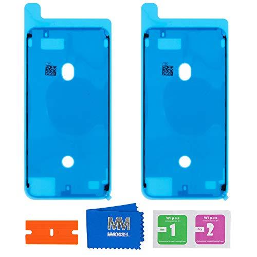 MMOBIEL 2X Pegatina Adhesiva pre-Cortada Impermeable Compatible con iPhone 7 Plus - 5.5 pulg. Marco LCD (Blanco)