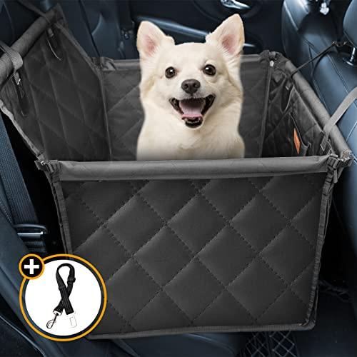 Looxmeer Hunde Autositz für Kleine Mittlere Hunde, Hundesitz Auto Autositzbezug mit Sicherheitsgurt und Verstärkter Wände für Rückbank, Wasserdicht & Reißfest, Hundedecke für Rücksitzschutz, Schwarz