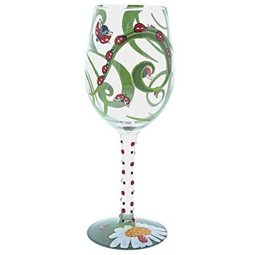 Lolita Copa de Vino Diseño Mariquita, Vidrio, Multicolor, 8.50x8.50x22.50 cm