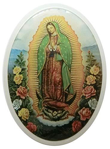 GTBITALY - Portavelas de plástico Ovalado con Imagen de la Virgen de Guadalupe Blanco