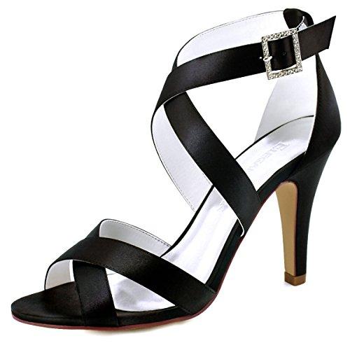 Elegantpark HP1705 Mujer Mirar furtivamente Dedo del pie Estilete Tacón Alto Strappy Sandalias Satín Fiesta Bodas Paseo Zapatos
