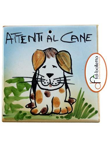 Decoración y iluminación de baldosas ornamentales de cerámica cuidados con el perro de pared pintada a mano Ma16. Medidas: 10 cm de altura, 10 cm de ancho, el grosor puede variar de 8 mm a 13 mm.