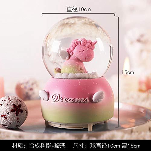 Fslt Unicorn Crystal Ball Snowflake Music Box Music Box Enviar Girlfriend Girl Child Creative Birthday New Year Gift-BB9002A (música + Linterna + Nieve automática)