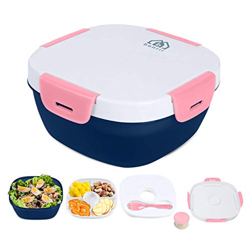 BENRII Bento Box Lunch Containers - Rose Pink - Ice Pack, Leak-Proof Salad Kit/Salad Bowl/Fruit Bowl/Meal Prep Container, 4 Compartments & Salad Dressing Cups, Best Lunch Box for Kids, Men & Women